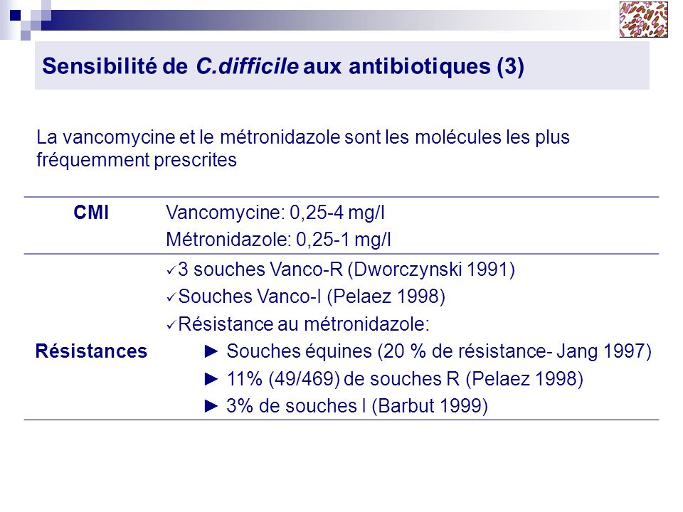 Sensibilité de C.difficile aux antibiotiques (3) CMIVancomycine: 0,25-4 mg/l Métronidazole: 0,25-1 mg/l Résistances 3 souches Vanco-R (Dworczynski 199