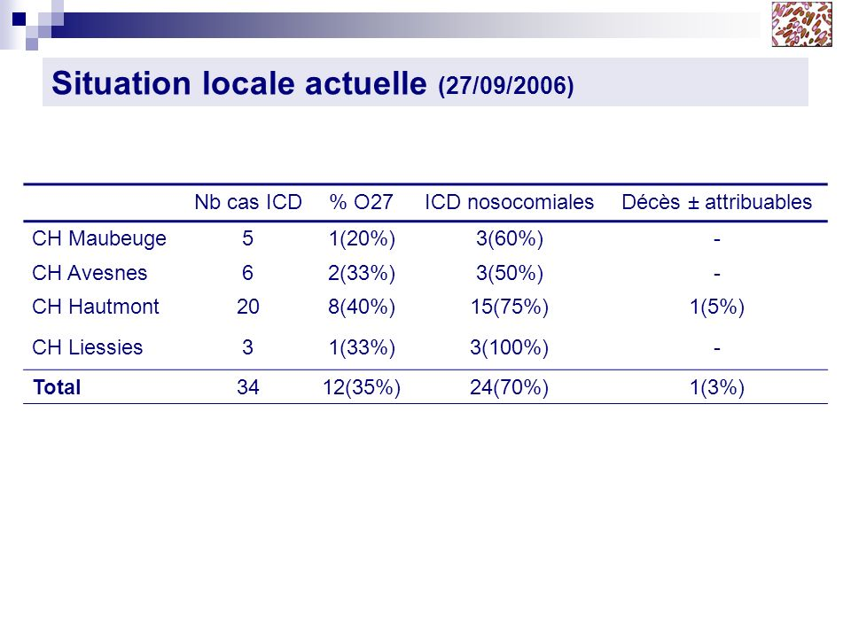 Situation locale actuelle (27/09/2006) Nb cas ICD% O27ICD nosocomialesDécès ± attribuables CH Maubeuge51(20%)3(60%)- CH Avesnes62(33%)3(50%)- CH Hautm