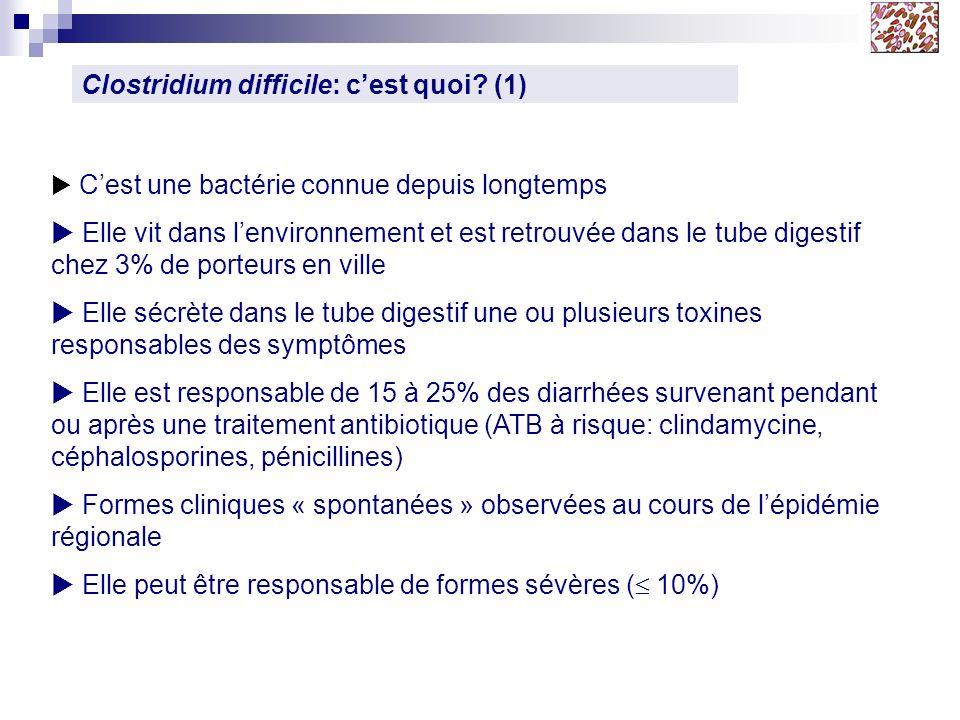 Clostridium difficile: cest quoi? (1) Cest une bactérie connue depuis longtemps Elle vit dans lenvironnement et est retrouvée dans le tube digestif ch