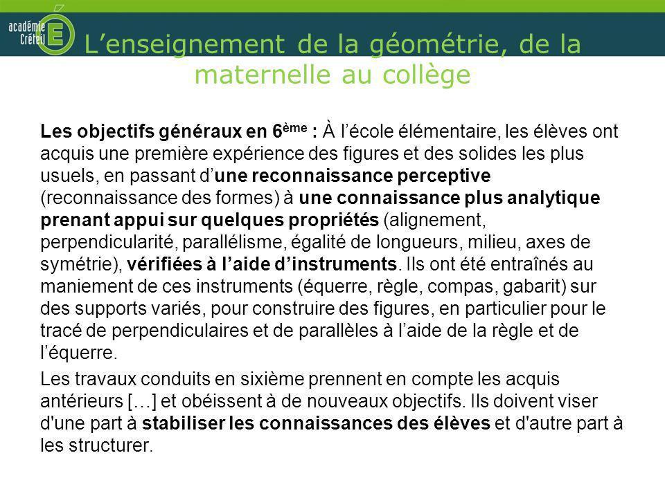 Lenseignement de la géométrie, de la maternelle au collège Les objectifs généraux en 6 ème : À lécole élémentaire, les élèves ont acquis une première