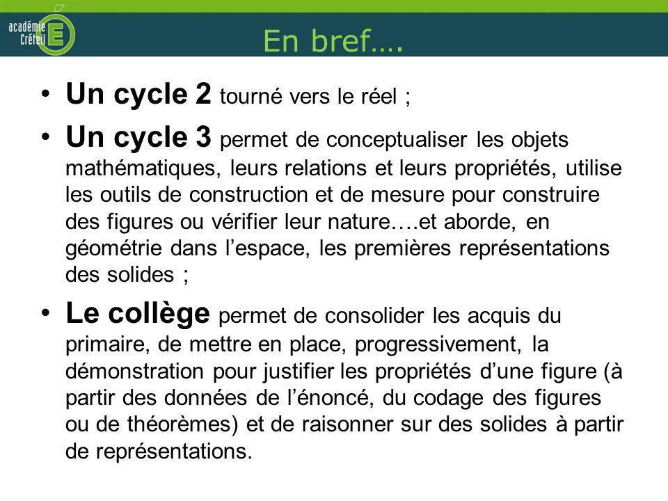 En bref…. Un cycle 2 tourné vers le réel ; Un cycle 3 permet de conceptualiser les objets mathématiques, leurs relations et leurs propriétés, utilise