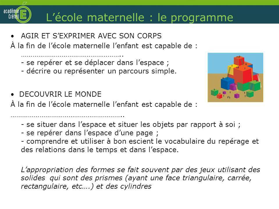 Lécole maternelle : le programme AGIR ET SEXPRIMER AVEC SON CORPS À la fin de lécole maternelle lenfant est capable de : …………………………………………….. - se repé