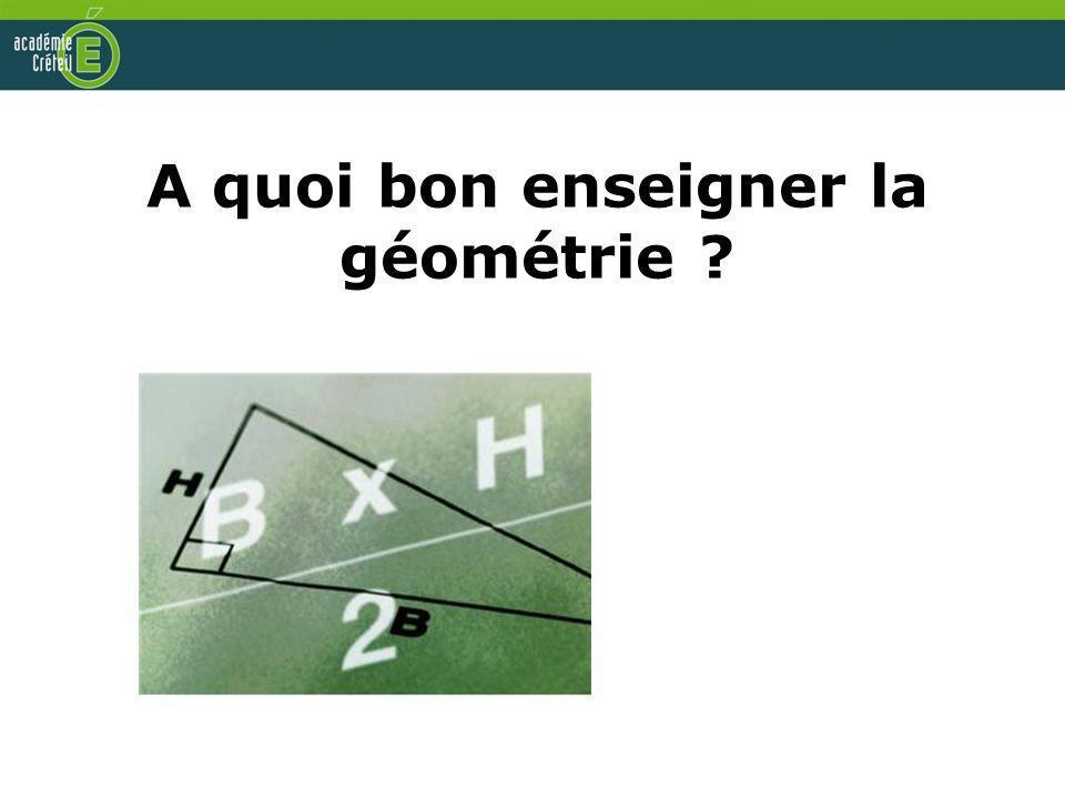 A quoi bon enseigner la géométrie ?
