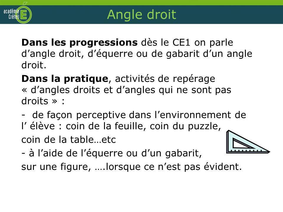 Angle droit Dans les progressions dès le CE1 on parle dangle droit, déquerre ou de gabarit dun angle droit. Dans la pratique, activités de repérage «