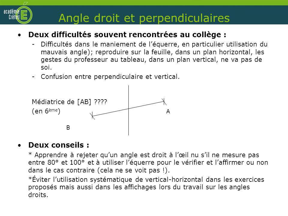 Angle droit et perpendiculaires Deux difficultés souvent rencontrées au collège : -Difficultés dans le maniement de léquerre, en particulier utilisati