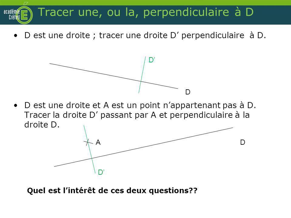 Tracer une, ou la, perpendiculaire à D D est une droite ; tracer une droite D perpendiculaire à D. D est une droite et A est un point nappartenant pas