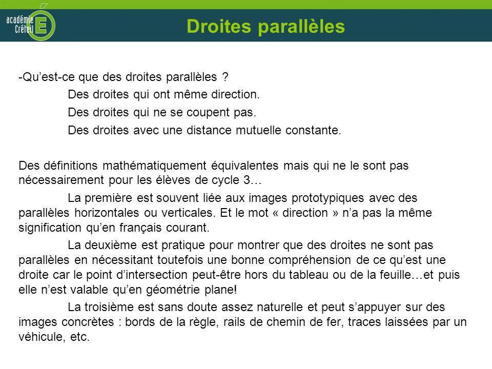 Droites parallèles -Quest-ce que des droites parallèles ? Des droites qui ont même direction. Des droites qui ne se coupent pas. Des droites avec une