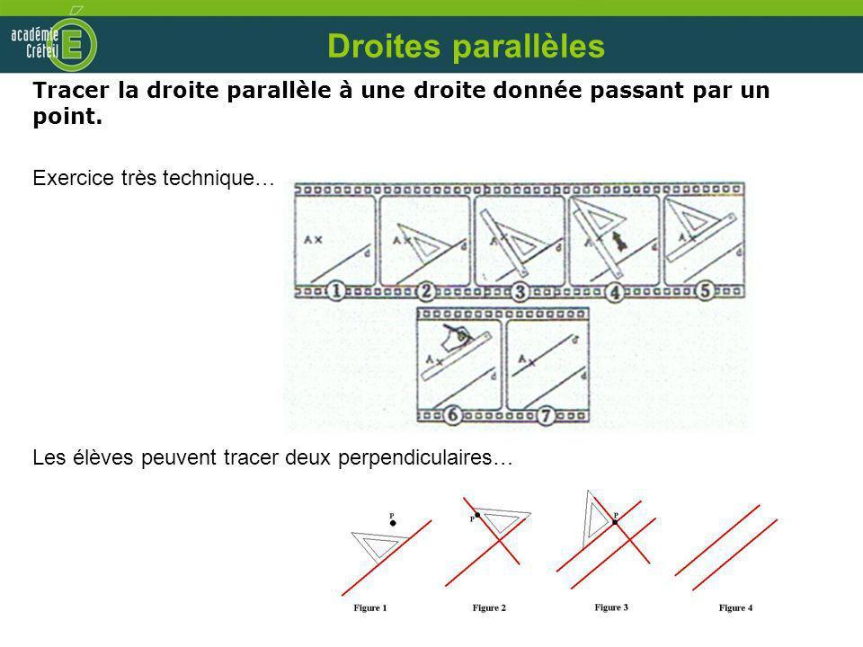 Droites parallèles Tracer la droite parallèle à une droite donnée passant par un point. Exercice très technique… Les élèves peuvent tracer deux perpen