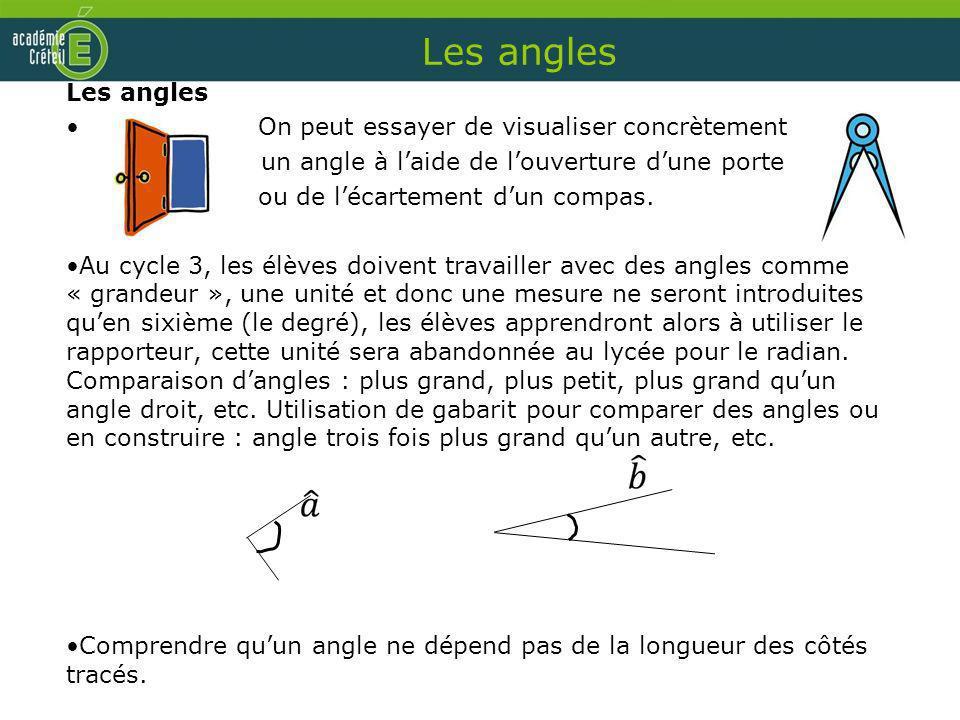 Les angles On peut essayer de visualiser concrètement un angle à laide de louverture dune porte ou de lécartement dun compas. Au cycle 3, les élèves d