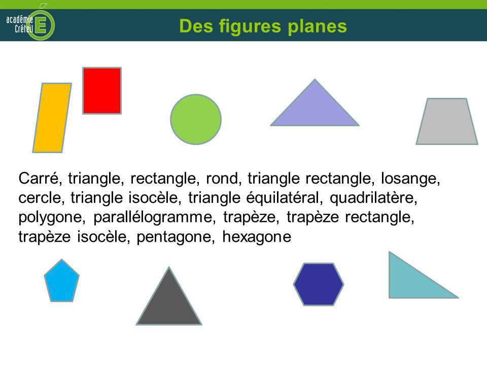 Des figures planes Carré, triangle, rectangle, rond, triangle rectangle, losange, cercle, triangle isocèle, triangle équilatéral, quadrilatère, polygo
