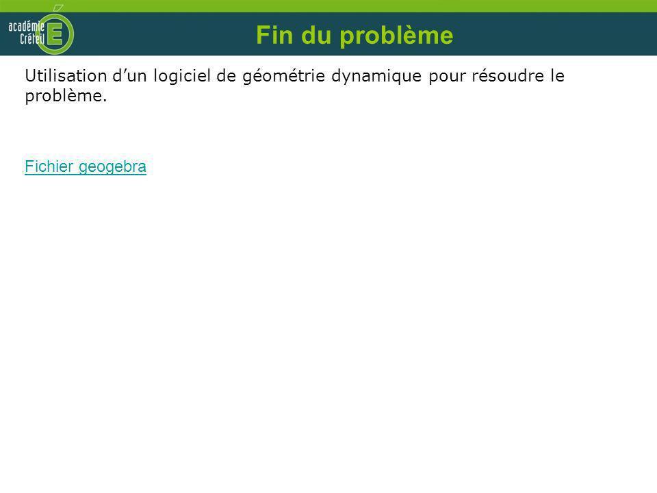 Fin du problème Utilisation dun logiciel de géométrie dynamique pour résoudre le problème. Fichier geogebra