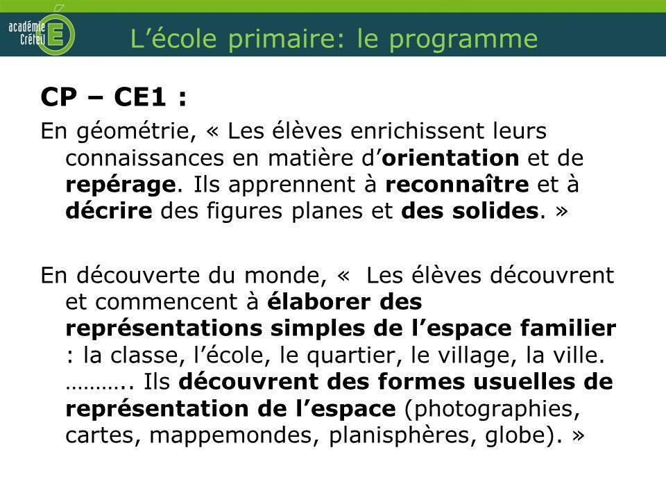 Lécole primaire: le programme CP – CE1 : En géométrie, « Les élèves enrichissent leurs connaissances en matière dorientation et de repérage. Ils appre