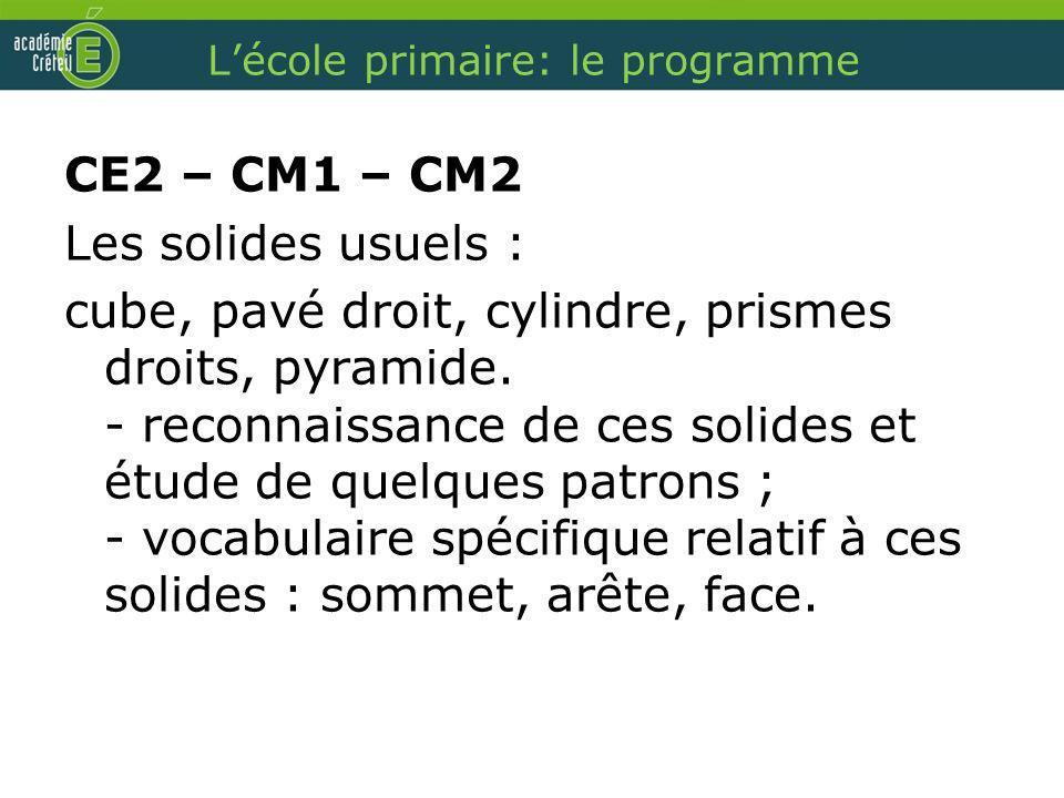 Lécole primaire: le programme CE2 – CM1 – CM2 Les solides usuels : cube, pavé droit, cylindre, prismes droits, pyramide. - reconnaissance de ces solid