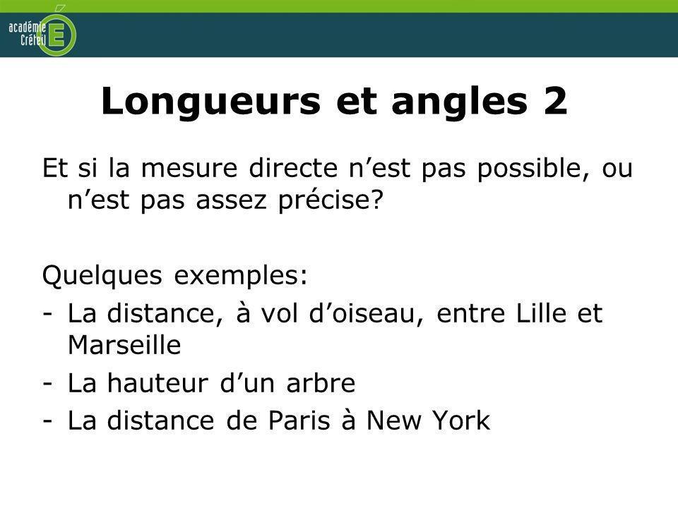 Longueurs et angles 2 Et si la mesure directe nest pas possible, ou nest pas assez précise? Quelques exemples: -La distance, à vol doiseau, entre Lill