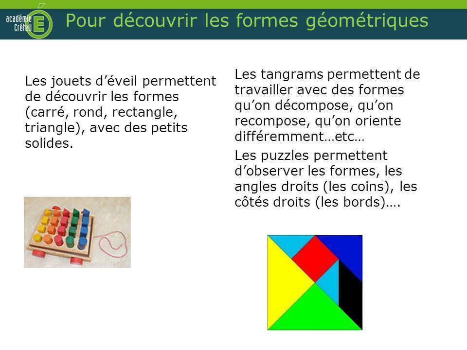Pour découvrir les formes géométriques Les jouets déveil permettent de découvrir les formes (carré, rond, rectangle, triangle), avec des petits solide