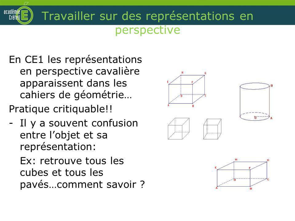 Travailler sur des représentations en perspective En CE1 les représentations en perspective cavalière apparaissent dans les cahiers de géométrie… Prat