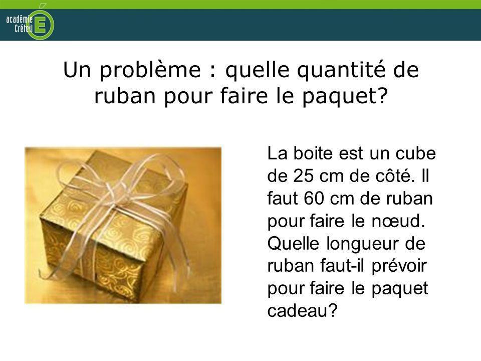 Un problème : quelle quantité de ruban pour faire le paquet? La boite est un cube de 25 cm de côté. Il faut 60 cm de ruban pour faire le nœud. Quelle