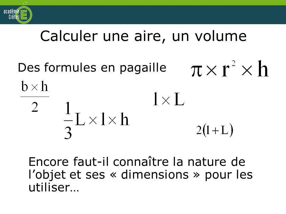 Calculer une aire, un volume Des formules en pagaille Encore faut-il connaître la nature de lobjet et ses « dimensions » pour les utiliser…