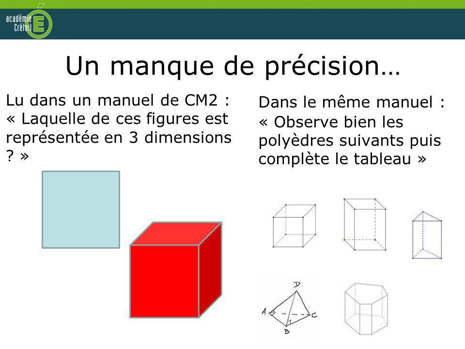 Un manque de précision… Lu dans un manuel de CM2 : « Laquelle de ces figures est représentée en 3 dimensions ? » Dans le même manuel : « Observe bien