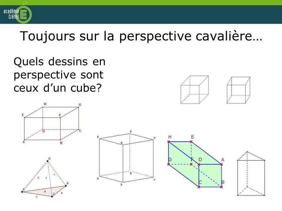 Toujours sur la perspective cavalière… Quels dessins en perspective sont ceux dun cube?