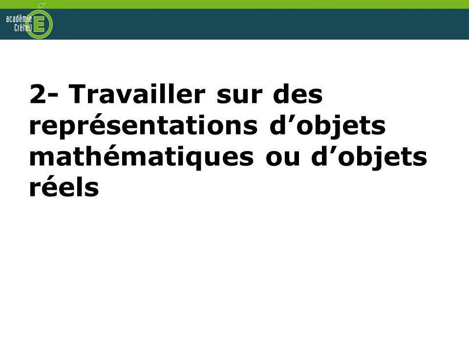 2- Travailler sur des représentations dobjets mathématiques ou dobjets réels