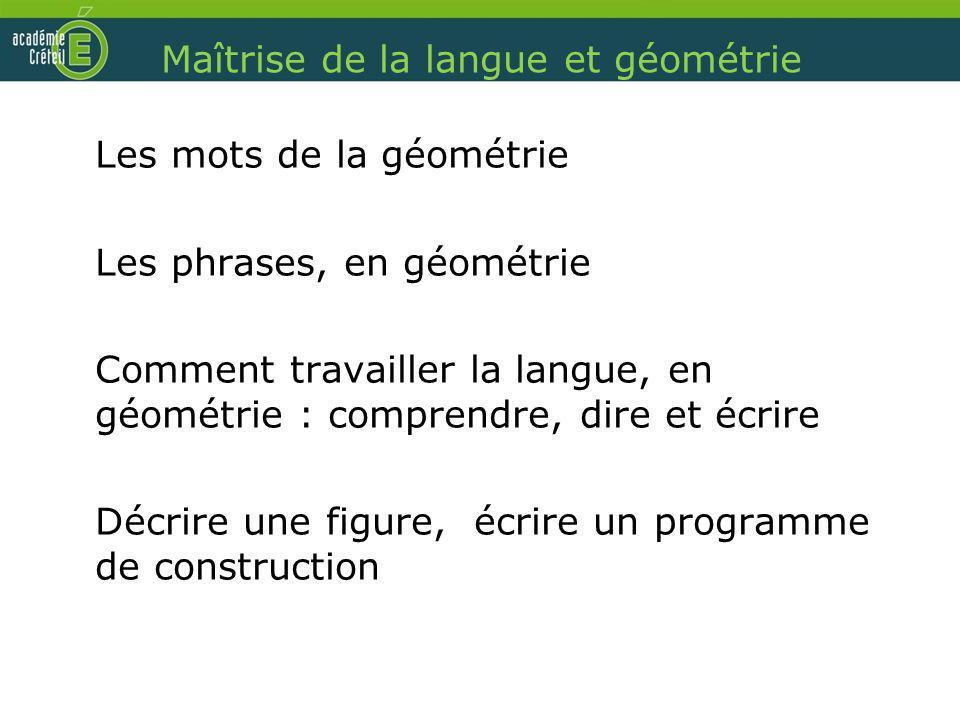 Maîtrise de la langue et géométrie Les mots de la géométrie Les phrases, en géométrie Comment travailler la langue, en géométrie : comprendre, dire et