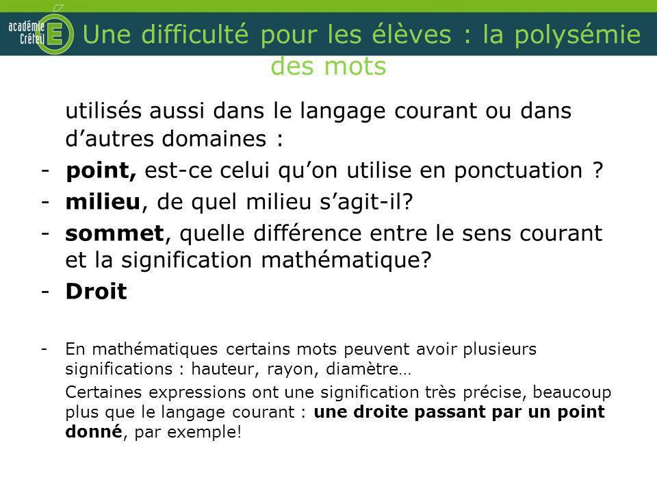 Une difficulté pour les élèves : la polysémie des mots utilisés aussi dans le langage courant ou dans dautres domaines : - point, est-ce celui quon ut