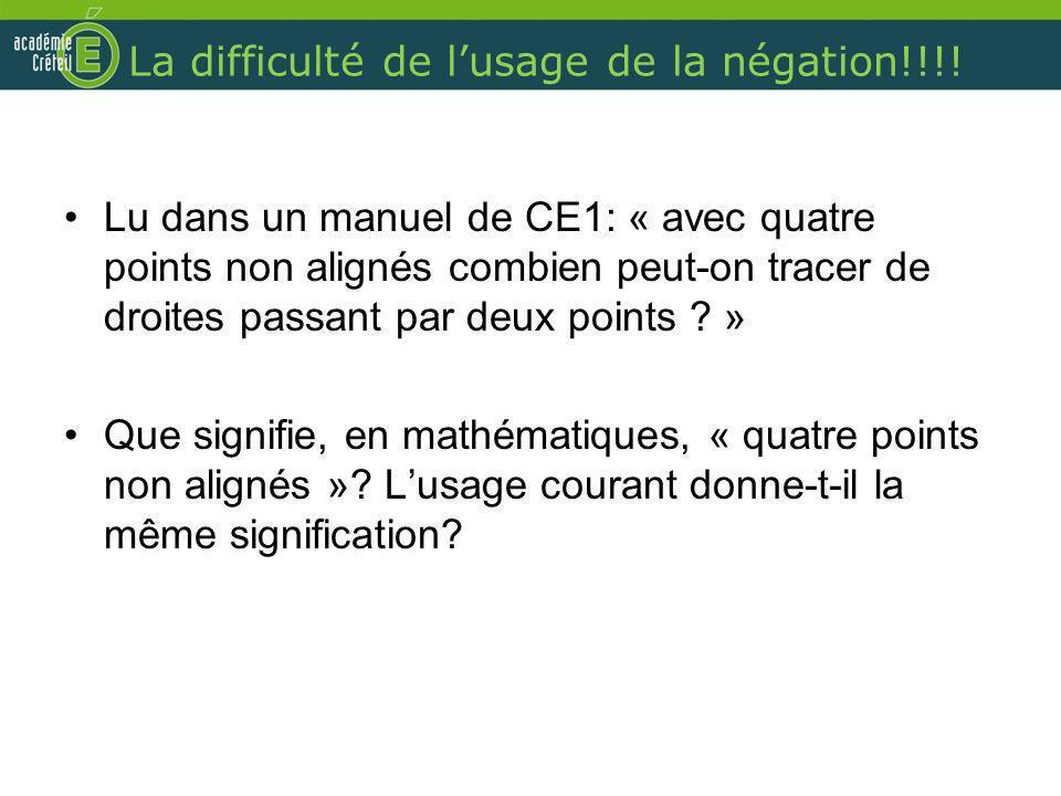 La difficulté de lusage de la négation!!!! Lu dans un manuel de CE1: « avec quatre points non alignés combien peut-on tracer de droites passant par de