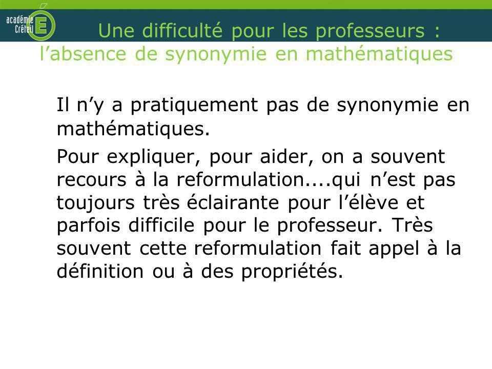 Une difficulté pour les professeurs : labsence de synonymie en mathématiques Il ny a pratiquement pas de synonymie en mathématiques. Pour expliquer, p