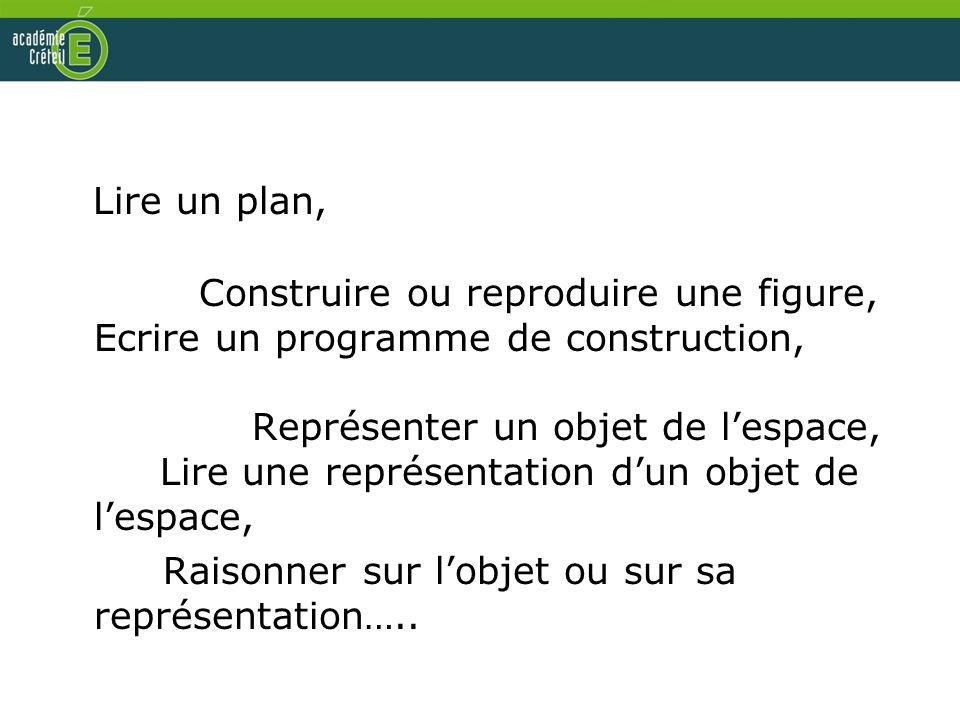 Lire un plan, Construire ou reproduire une figure, Ecrire un programme de construction, Représenter un objet de lespace, Lire une représentation dun o