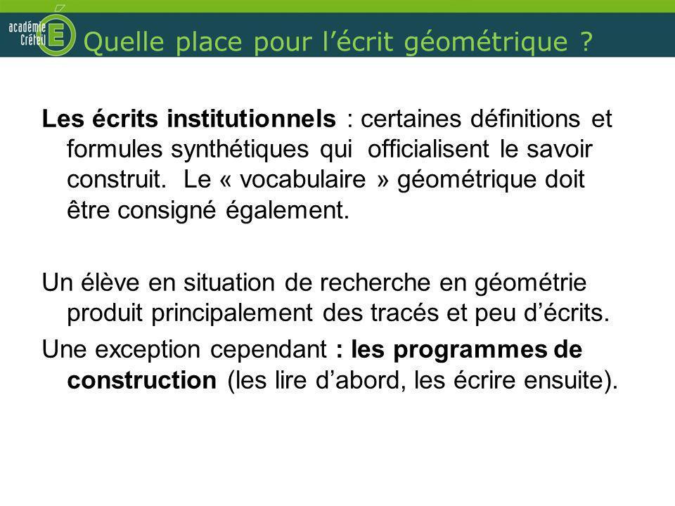 Quelle place pour lécrit géométrique ? Les écrits institutionnels : certaines définitions et formules synthétiques qui officialisent le savoir constru