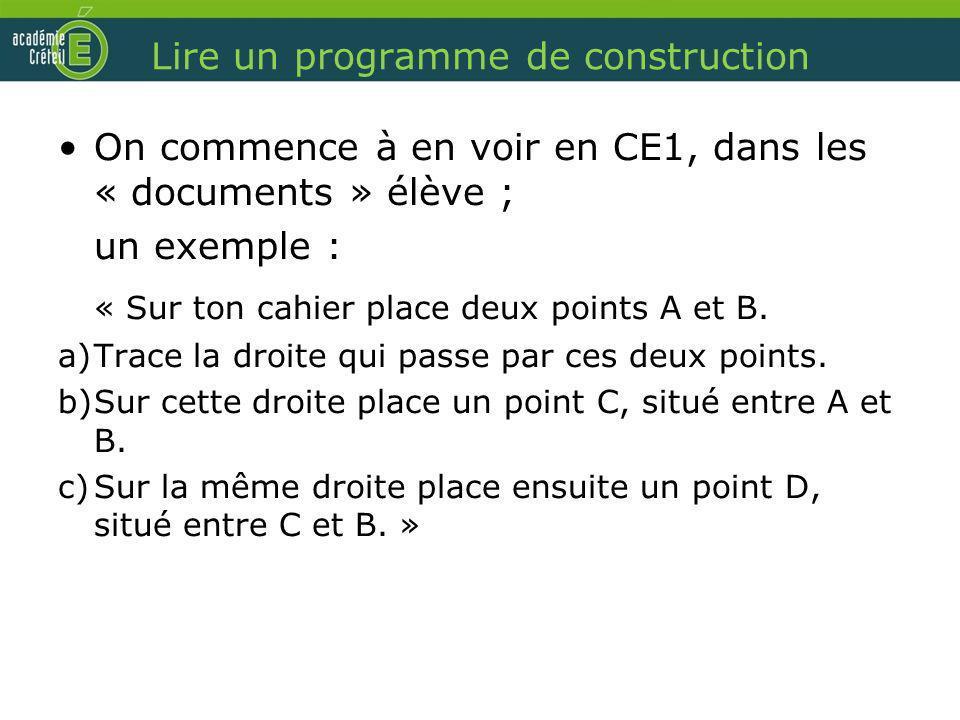 Lire un programme de construction On commence à en voir en CE1, dans les « documents » élève ; un exemple : « Sur ton cahier place deux points A et B.