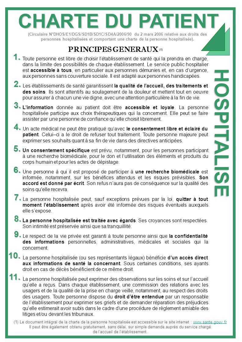 CHARTE DU PATIENT HOSPITALISE PRINCIPES GENERAUX (1) Toute personne est libre de choisir létablissement de santé qui la prendra en charge, dans la lim