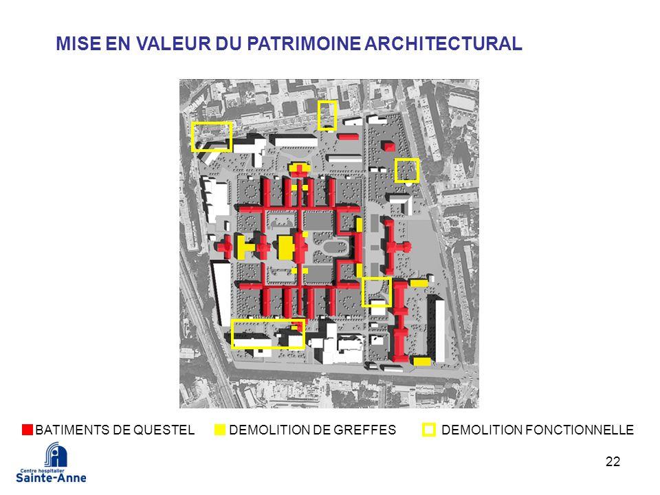 22 MISE EN VALEUR DU PATRIMOINE ARCHITECTURAL BATIMENTS DE QUESTELDEMOLITION DE GREFFESDEMOLITION FONCTIONNELLE