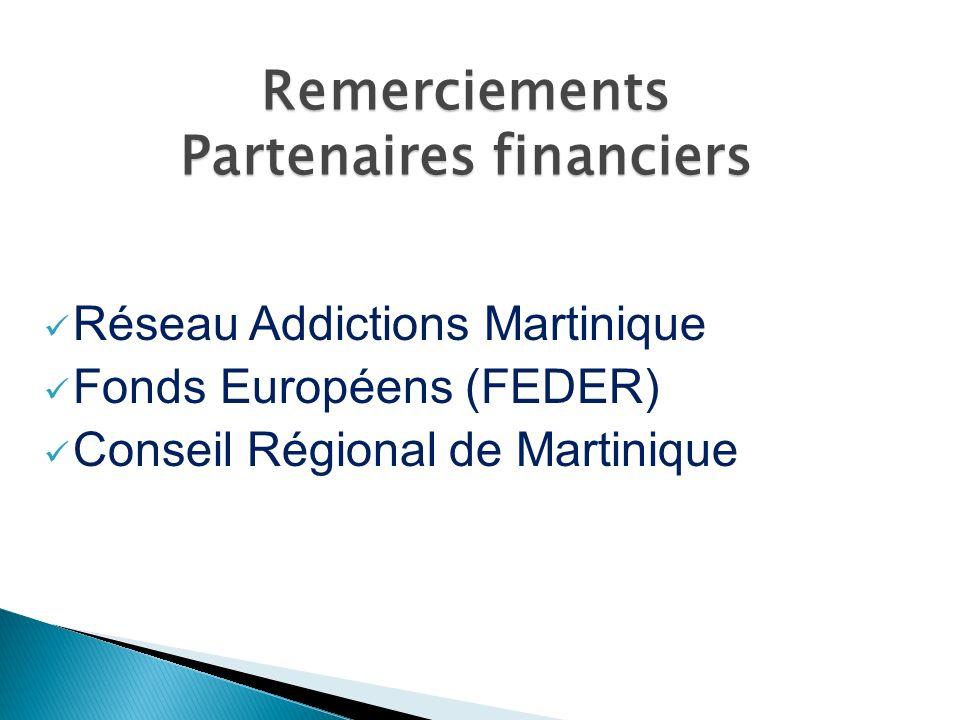 Réseau Addictions Martinique Fonds Européens (FEDER) Conseil Régional de Martinique Remerciements Partenaires financiers