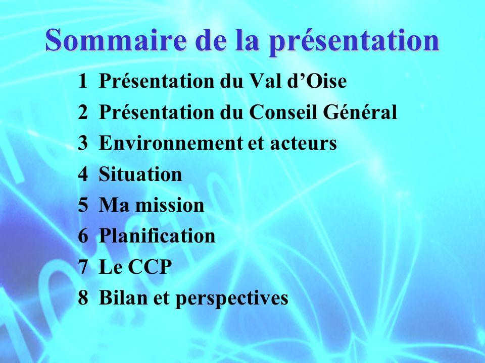 Sommaire de la présentation 1Présentation du Val dOise 2 Présentation du Conseil Général 3 Environnement et acteurs 4 Situation 5 Ma mission 6 Planifi