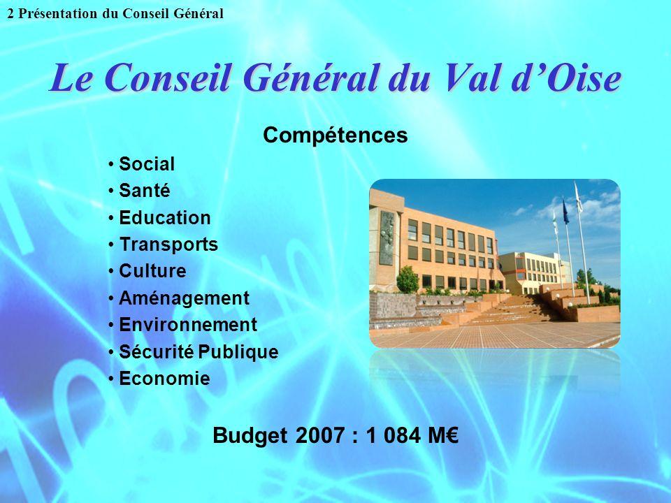 Le Conseil Général du Val dOise Compétences Social Santé Education Transports Culture Aménagement Environnement Sécurité Publique Economie Budget 2007