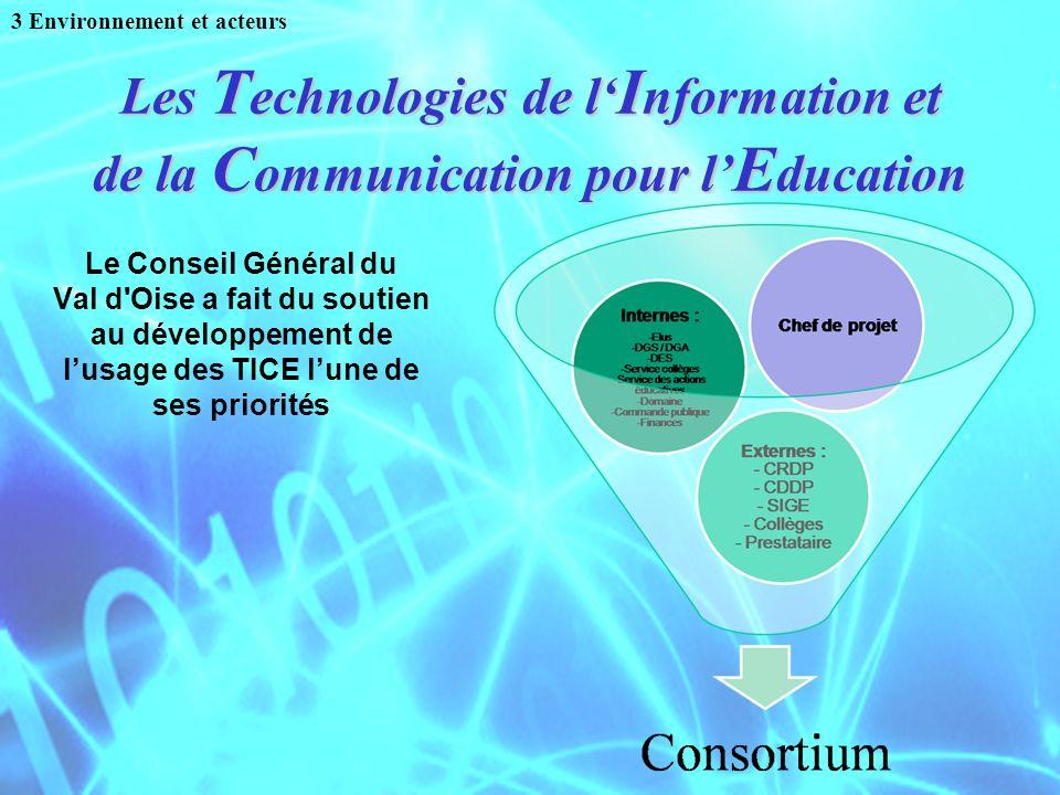 Les T echnologies de l I nformation et de la C ommunication pour l E ducation Le Conseil Général du Val d'Oise a fait du soutien au développement de l