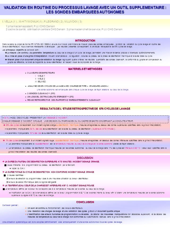VALIDATION EN ROUTINE DU PROCESSUS LAVAGE AVEC UN OUTIL SUPPLEMENTAIRE : LES SONDES EMBARQUEES AUTONOMES I. VELLA (1 ), M-H TYWONIUK (1), P.LEGRAND (
