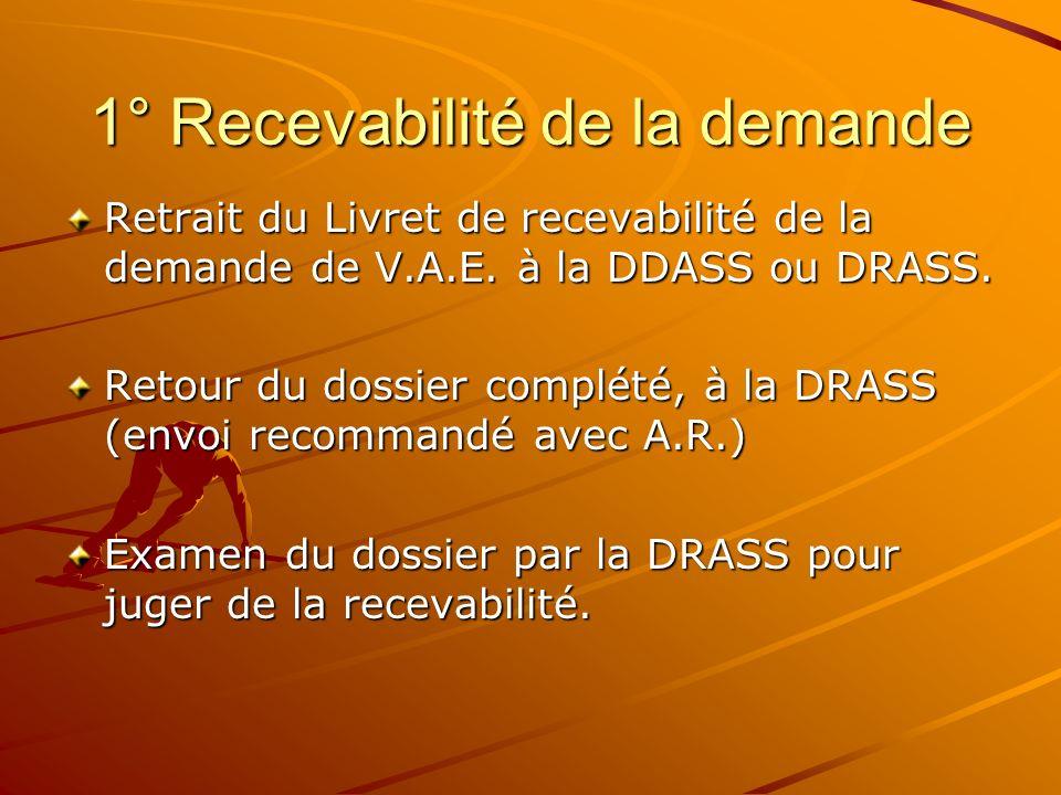 1° Recevabilité de la demande Retrait du Livret de recevabilité de la demande de V.A.E. à la DDASS ou DRASS. Retour du dossier complété, à la DRASS (e