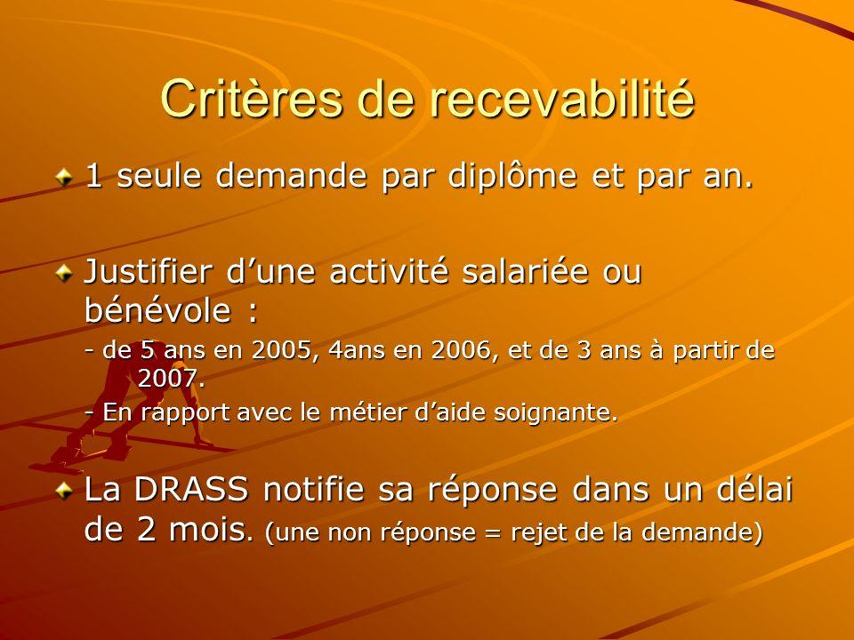 Critères de recevabilité 1 seule demande par diplôme et par an. Justifier dune activité salariée ou bénévole : - de 5 ans en 2005, 4ans en 2006, et de