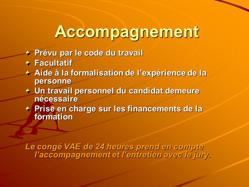 Accompagnement Prévu par le code du travail Facultatif Aide à la formalisation de lexpérience de la personne Un travail personnel du candidat demeure