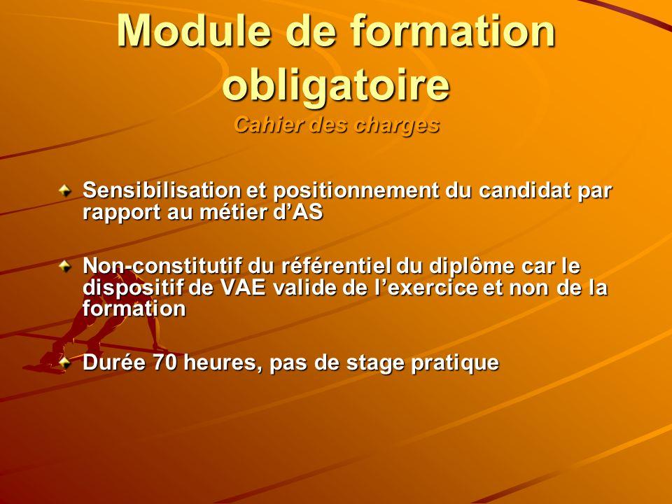 Module de formation obligatoire Cahier des charges Sensibilisation et positionnement du candidat par rapport au métier dAS Non-constitutif du référent