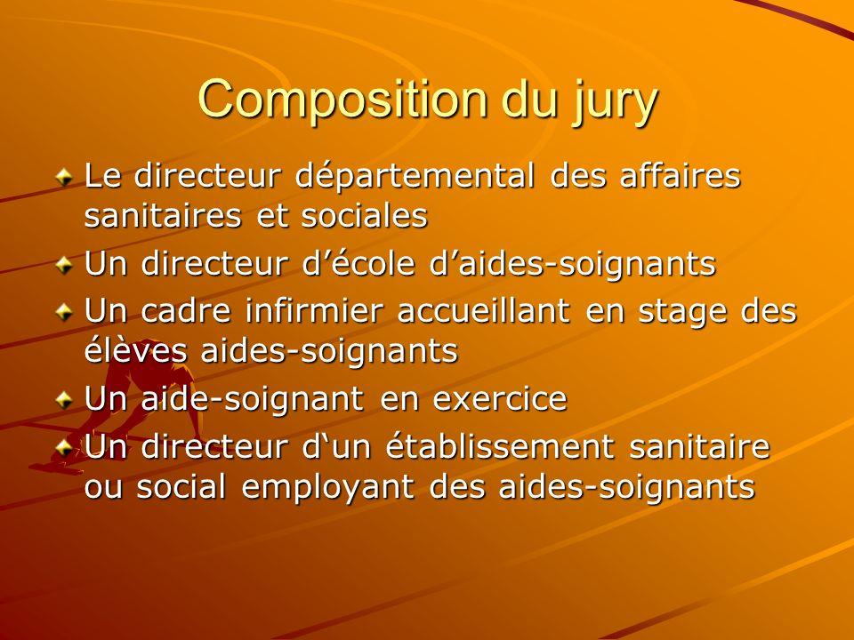 Composition du jury Le directeur départemental des affaires sanitaires et sociales Un directeur décole daides-soignants Un cadre infirmier accueillant