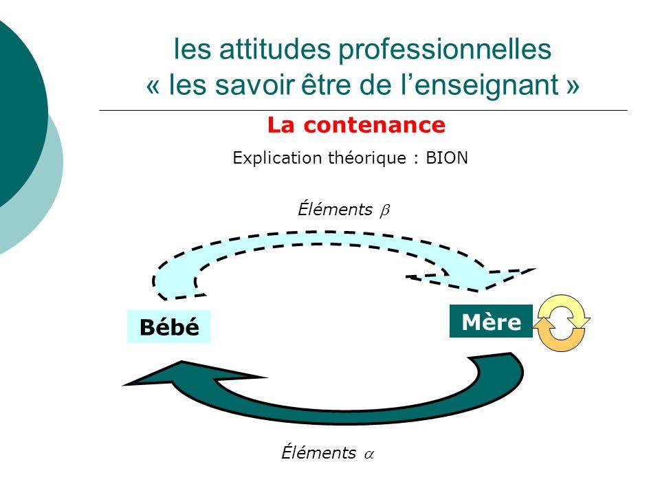 les attitudes professionnelles « les savoir être de lenseignant » La contenance Explication théorique : BION Bébé Mère Éléments