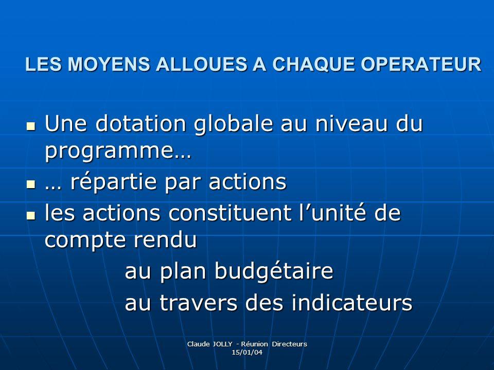 Claude JOLLY - Réunion Directeurs 15/01/04 LES MOYENS ALLOUES A CHAQUE OPERATEUR Une dotation globale au niveau du programme… Une dotation globale au