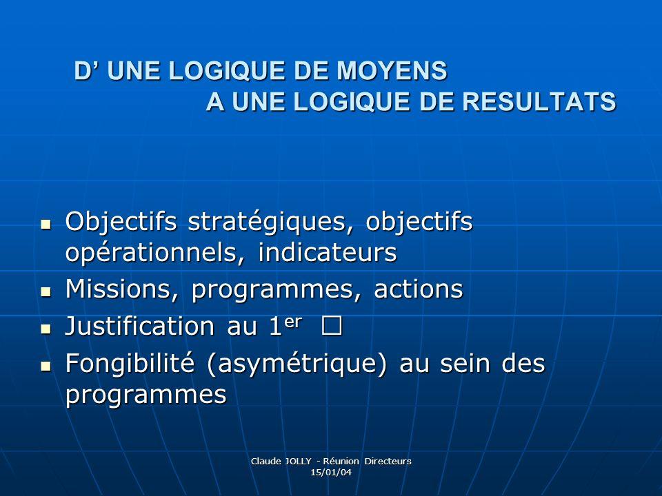 Claude JOLLY - Réunion Directeurs 15/01/04 D UNE LOGIQUE DE MOYENS A UNE LOGIQUE DE RESULTATS Objectifs stratégiques, objectifs opérationnels, indicat