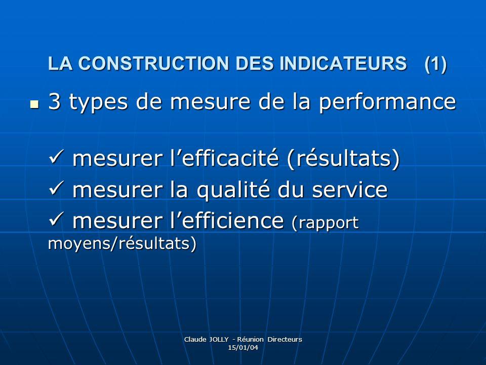 Claude JOLLY - Réunion Directeurs 15/01/04 LA CONSTRUCTION DES INDICATEURS (1) 3 types de mesure de la performance 3 types de mesure de la performance