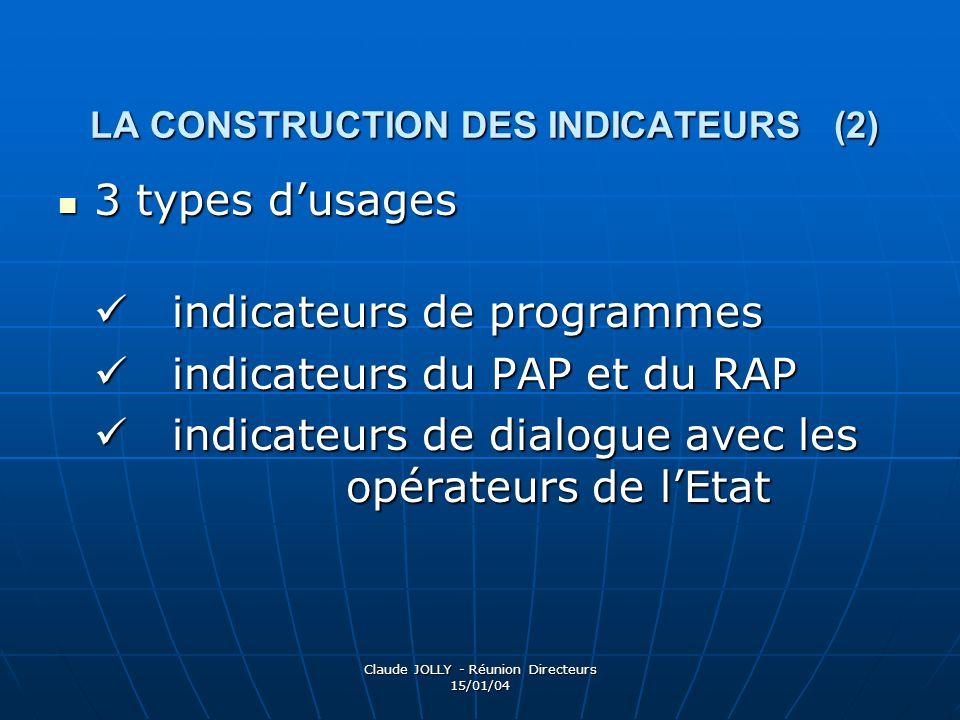 Claude JOLLY - Réunion Directeurs 15/01/04 LA CONSTRUCTION DES INDICATEURS (2) 3 types dusages 3 types dusages indicateurs de programmes indicateurs d