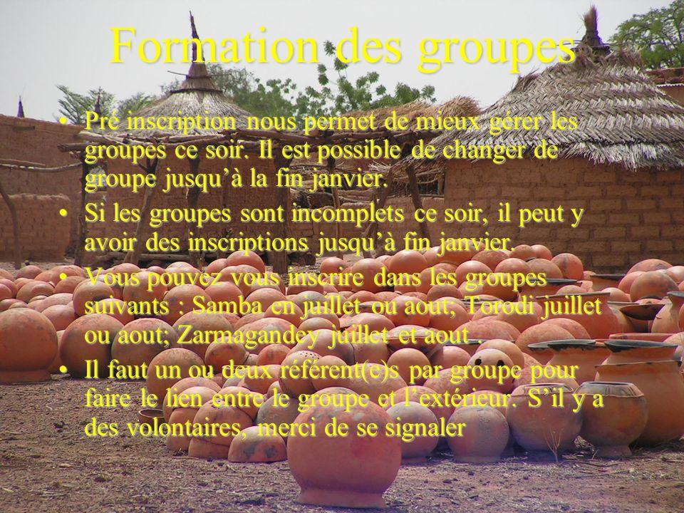 Formation des groupes Pré inscription nous permet de mieux gérer les groupes ce soir.